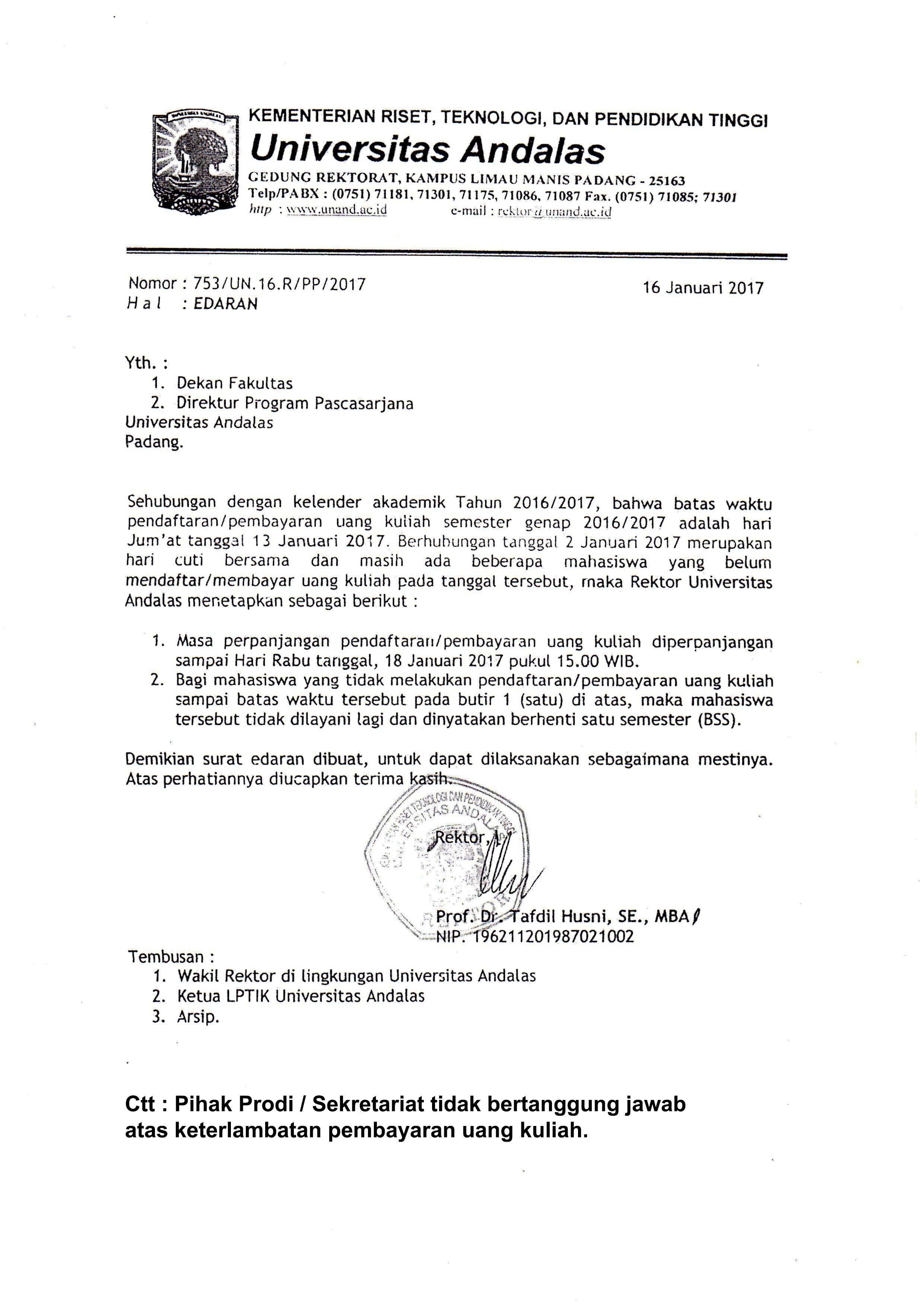 Surat Edaran Rektor Pemberitahuan Mengenai Pembayaran Uang